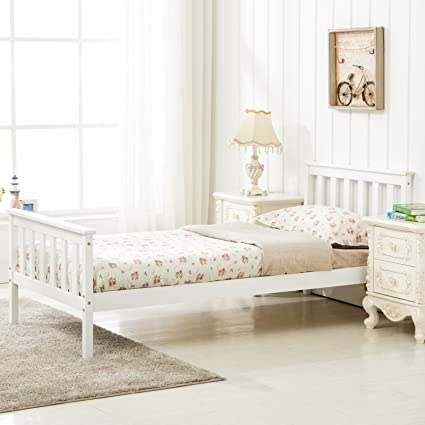Admirable Mecor 3Ft Single Bed In White Wooden Frame Bedroom Furniture Home Interior And Landscaping Ponolsignezvosmurscom