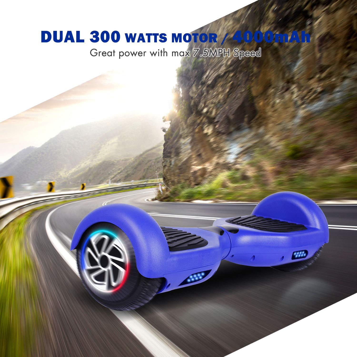 SISIGAD Hoverboard, Self Balancing Hoverboard, 6.5'' Two-Wheel Self Balancing Scooter, Smart Hover Board for Kids Gift, Adult Electric Scooter, with LED Lights and Free Carrying Bag UL2272 Certified by SISIGAD (Image #4)