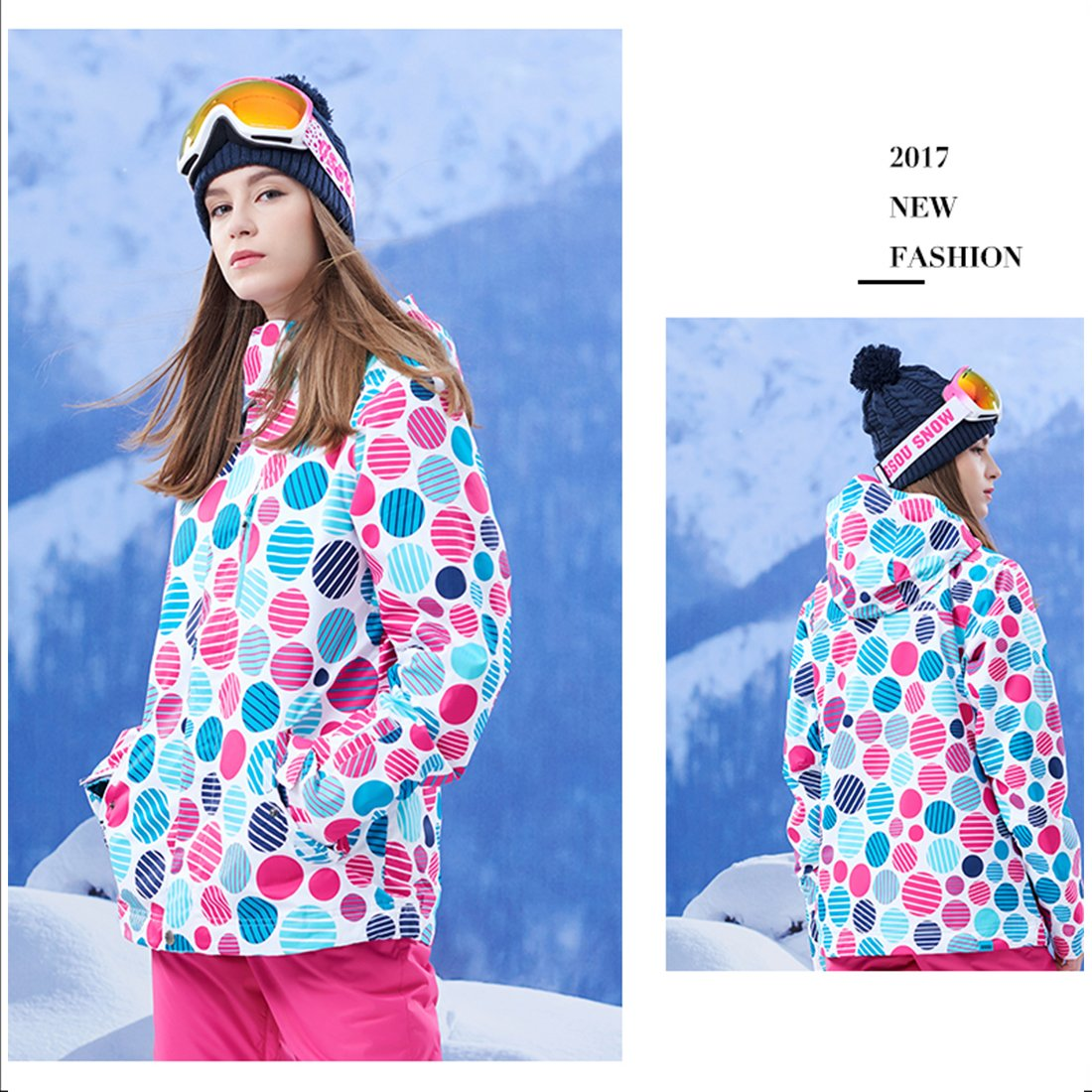 APTRO Women's High Windproof Technology Colorfull Printed Ski Jacket Style #37 Size S by APTRO (Image #4)