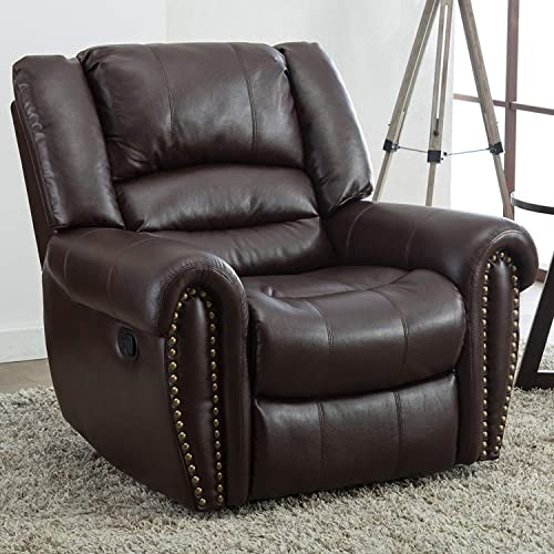 GOOD GRACIOUS Recliner Chair Faux Leather Oversized Reclining Sofa,Heavy Duty and Overstuffed Arms and Back Classic Recliners for Bedroom Living Room, Brown