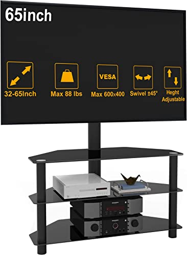 IANIYA Swivel Floor TV Stand Height Adjustable Bracket Entertainment Stand