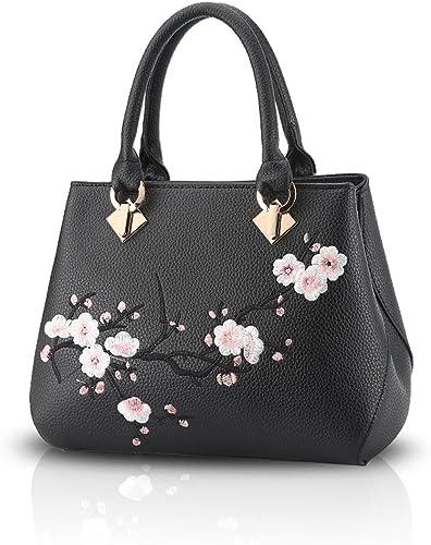 Nicole/&Doris Casual Sweet Handbag Women Crossbody Shoulder Bag Purse Tote Commuter PU Leather Black