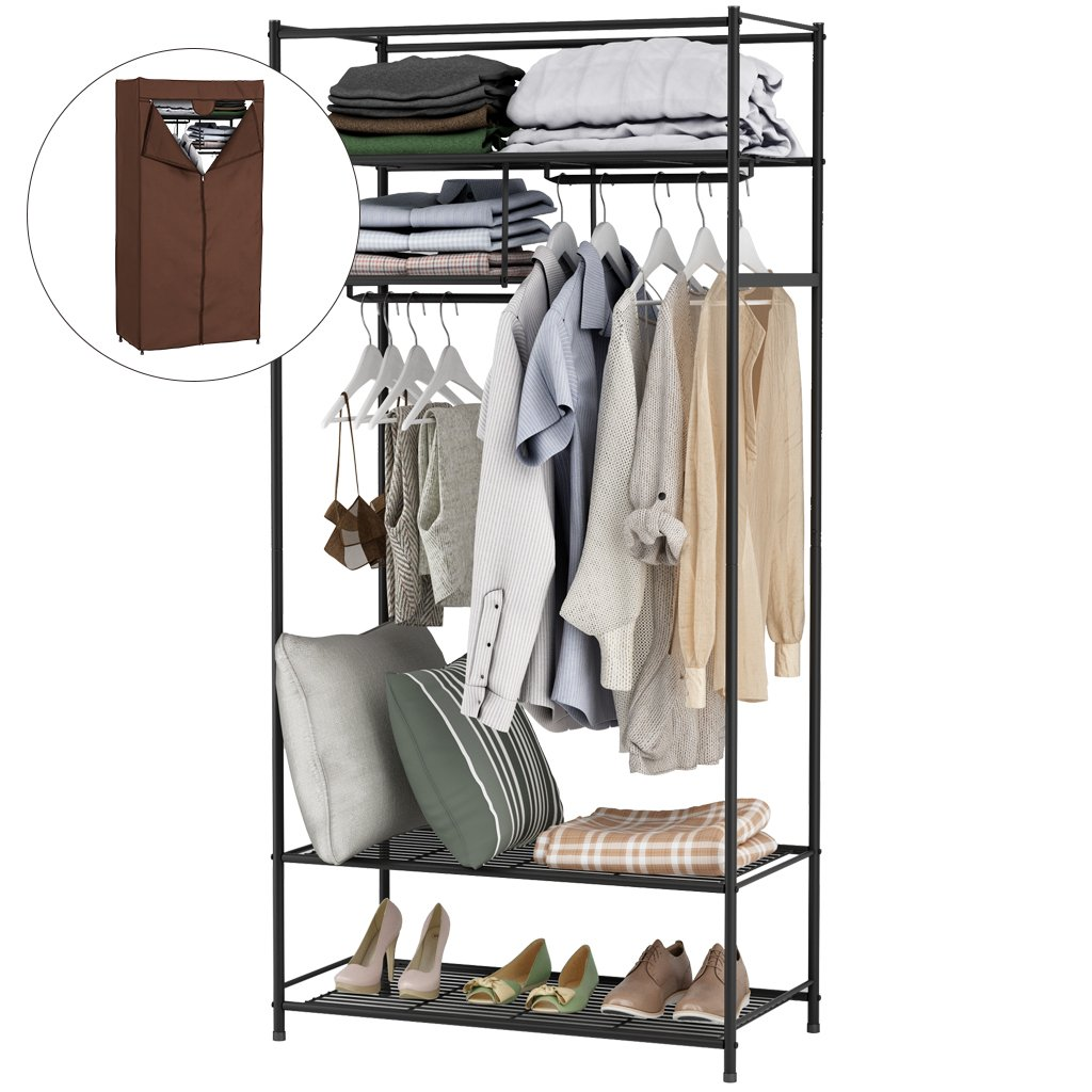 LANGRIA Heavy-Duty Zip Up Closet Shoe Organizer with Detachable Brown Cloth Cover Wardrobe Metal Storage Clothes Rack Armoire with 4 Shelves and 2 Hanging Rods Max Load 463 lbs.