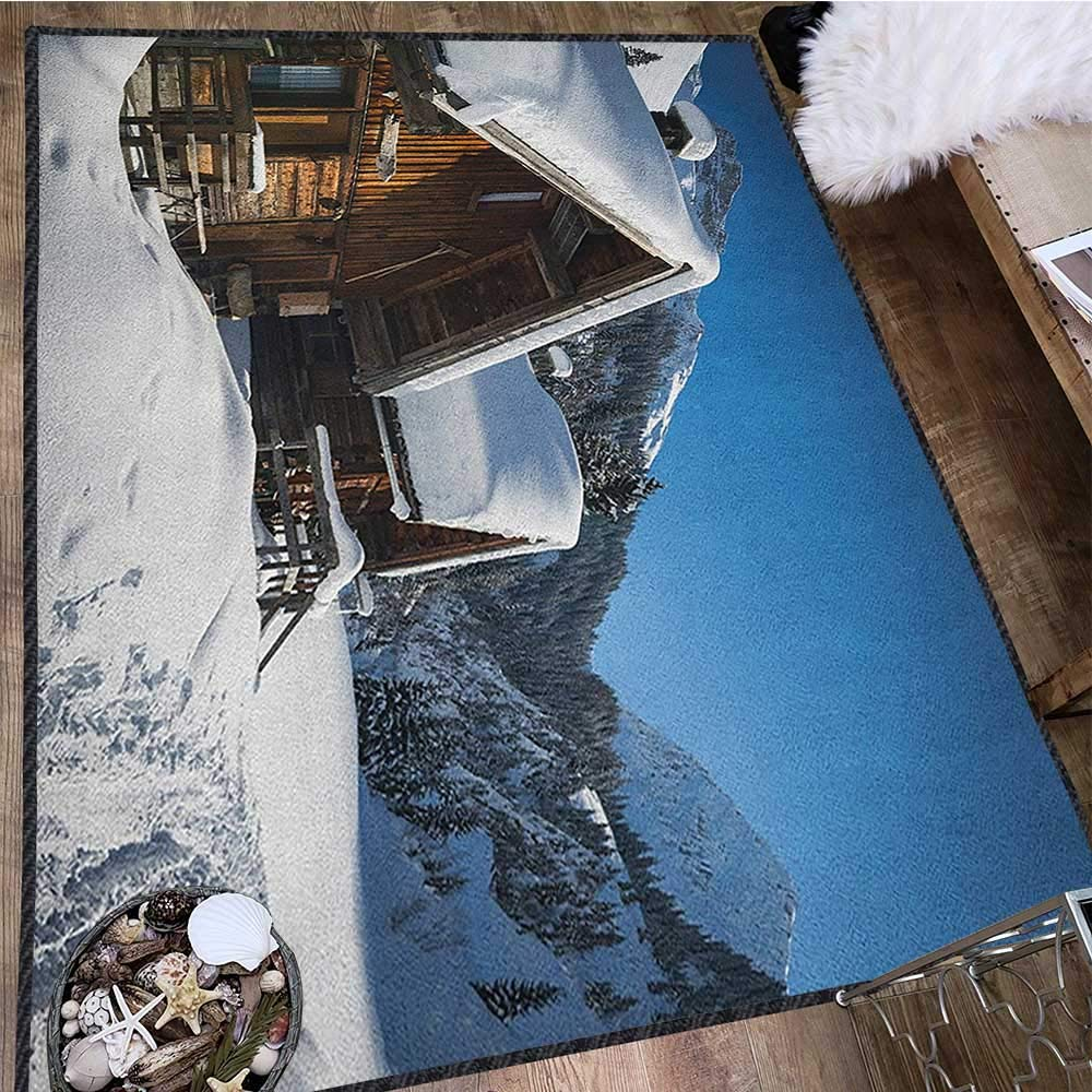 Winter Modern Area Rug with Non-Skid,Wooden Houses on Austrian Mountains Snowy Forest Cottage Holiday Destination Decor Carpet Popular Colors Brown Blue White 71''x83'' by Philip C. Williams