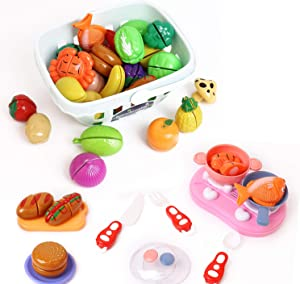 Heruo Pretend Play Food Set, Fruit and Vegetable Cutting Toy Magnetic Cooking Educational Toys for Kids with Fork Spoon and Shopping Basket