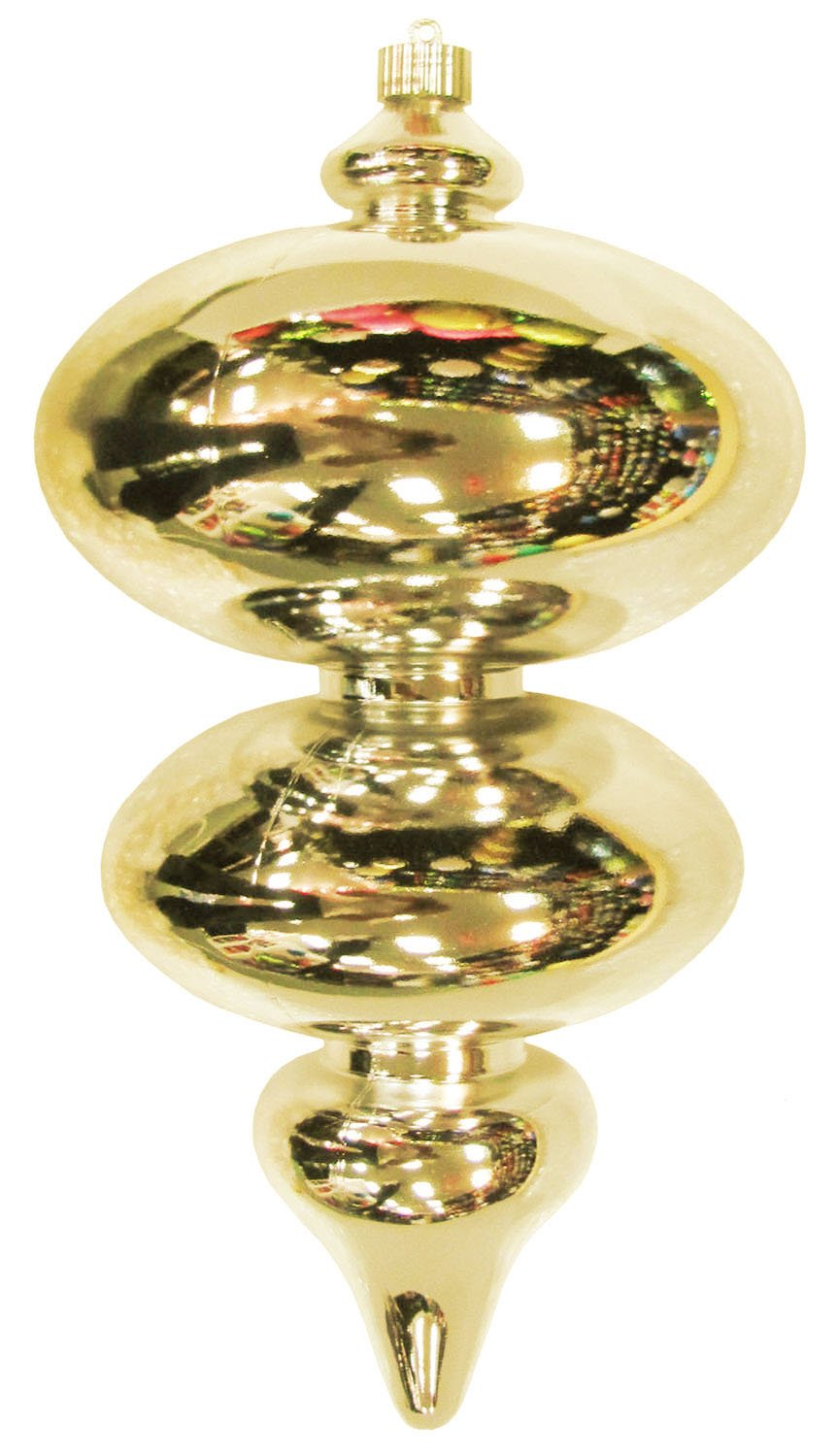 Christmas By Krebs Jumbo Finial Shiny Shatterproof Ornaments, 380mm, Gilded Gold, Set of 4