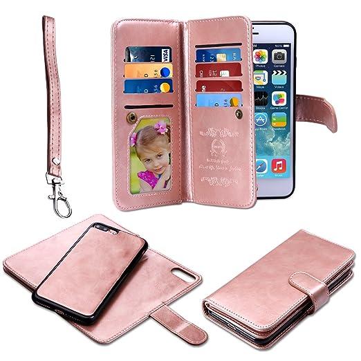 6 opinioni per iPhone 7 Plus Cover Pelle,Coolden® 2 in 1 Custodia a Portafoglio Flip Case Cover