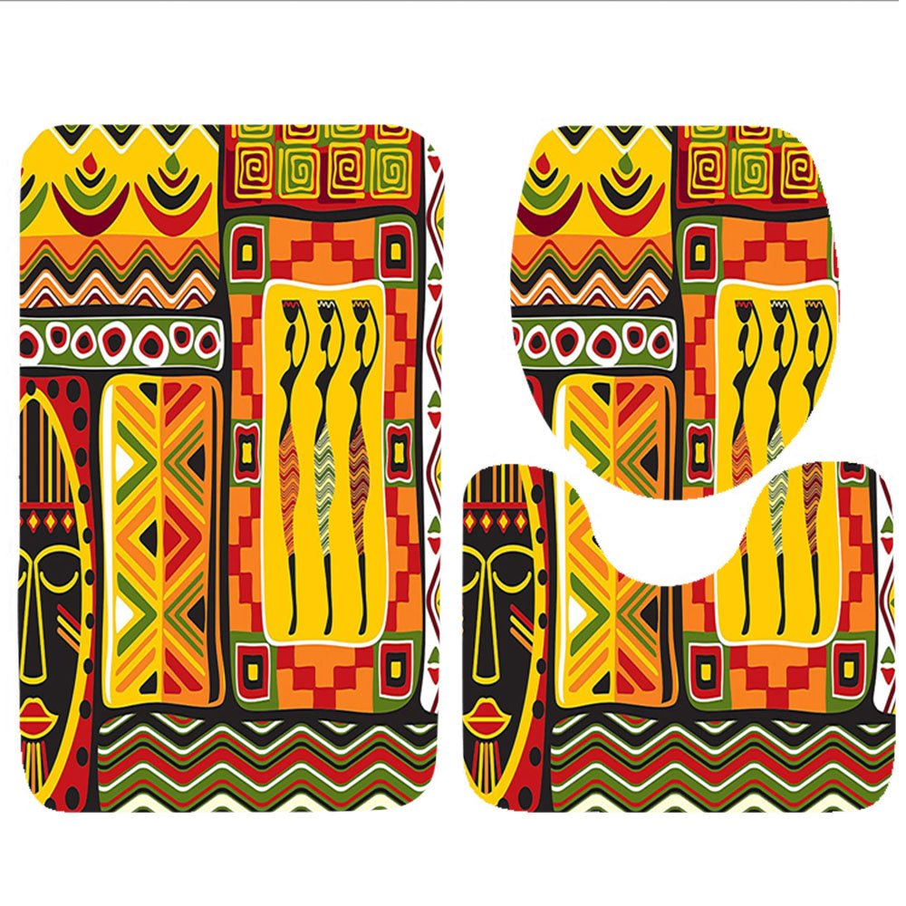 Keshia Dwete three-piece toilet seat pad customAfrican Collection African Animals in Safari Theme Ancient Cultral Ethnic Art Grunge Style Bohemian