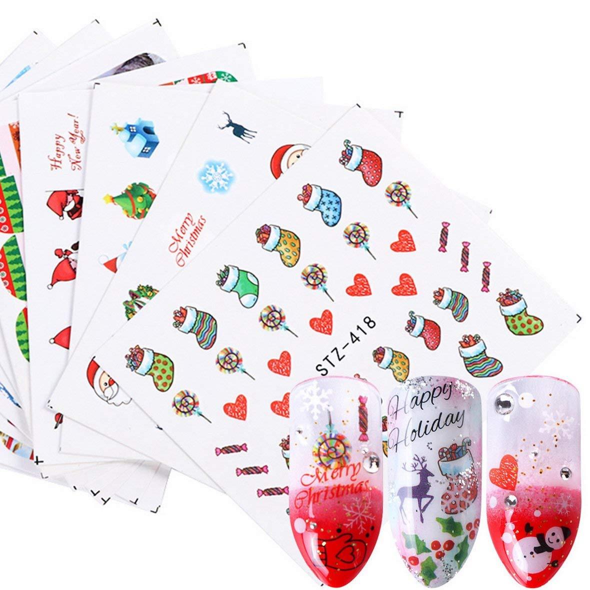 Heaviesk Invierno Navidad Serie manicura Marca de Agua Pegatina Moda impresi/ón u/ñas Papel u/ñas Arte decoraci/ón DIY Herramienta de u/ñas