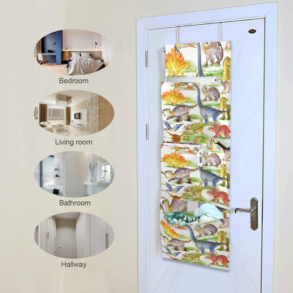 Hunihuni Cute Animal Dinosaur 4 Pocket Wall Hanging Storage Bag Over The Door Closet Organizer Multi Function Shelves Pouch for Bedroom