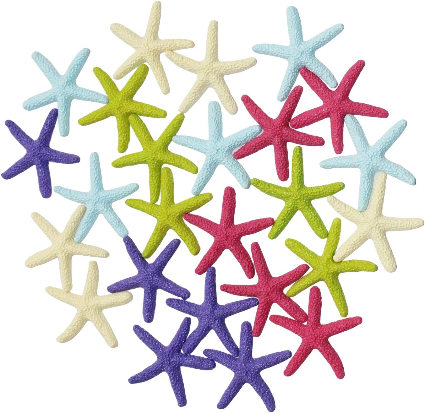 Ljy 25 Pieces Multi Colored Resin Pencil Finger Starfish For Wedding Decor Home Decor And Craft Project 2 3 Inches