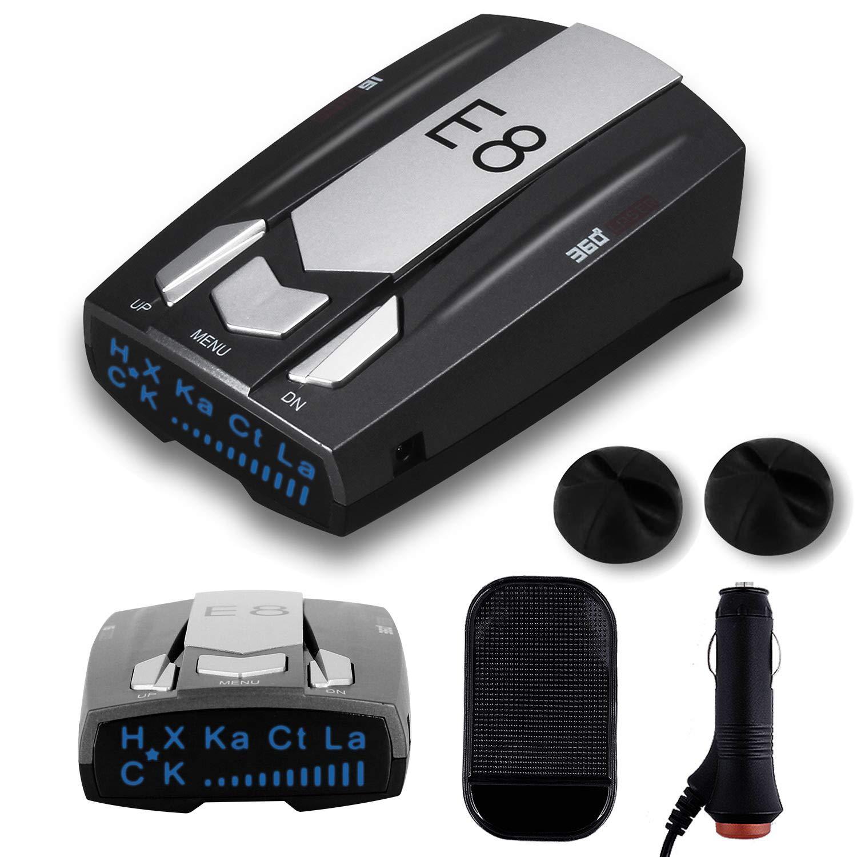 Car Speed Laser Radar Detector with LED Display Voice Alert and Alarm System Radar Detector Kit with 360 Degree Detection FCC Certificate AHOMATE Radar Detector E8