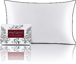 "Mellanni Silk Pillowcase for Hair and Skin - Both Sides 100% Pure Natural Mulberry Silk - 19 Momme - Hidden Zipper ClosurePillow Case- (Queen 20"" X 30"", White, Black Piping)"
