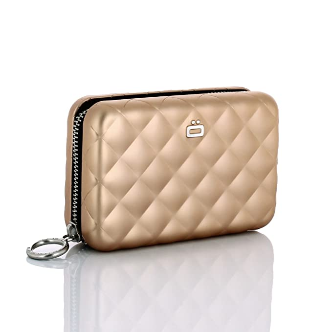 Ogon- Quilted Zipper Rose Gold Card holder zipper quilted Aluminium: Amazon.es: Equipaje