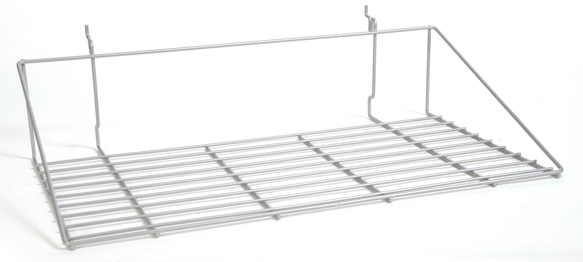 KC Store Fixtures A030109 Double Shirt Shelf Fits Slatwall, Grid, Pegboard,23-1/2'' W x 13-1/2'' D, Pc Chrome (Pack of 10)