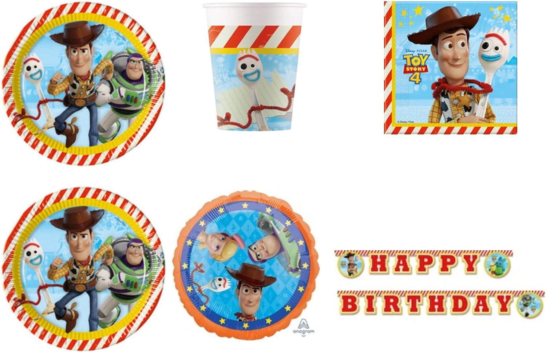 Party Store web by casa dolce casa Toy Story 4 Juego de vajilla para Fiestas de Madera y Buzz Lightyear – Kit n.º 3 CDC-(24 Platos, 24 Vasos, 40 servilletas, 1 Globo de Papel y 1 Guirnalda)