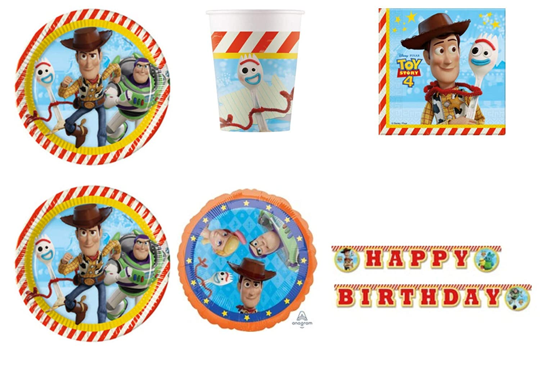 Party Store web by casa dolce casa Toy Story 4 Juego de vajilla para Fiestas de Madera y Buzz Lightyear – Kit n.º 3 CDC-(24 Platos, 24 Vasos, 40 ...