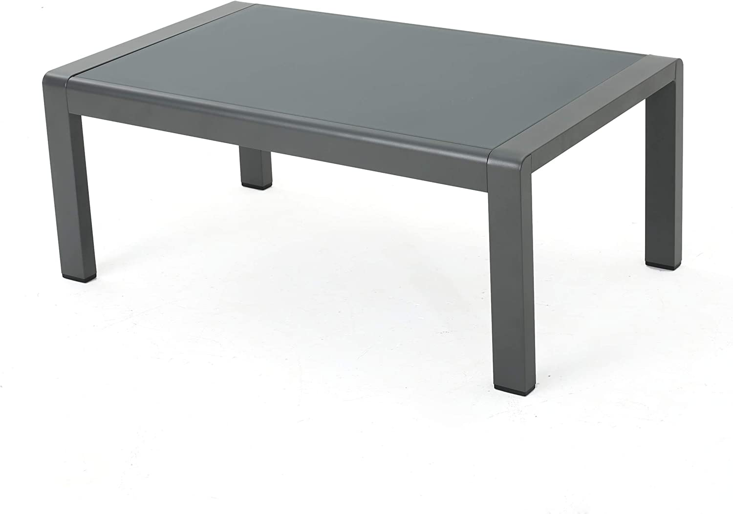 Christopher Knight Home Cape Coral Outdoor Aluminum Coffee Table with Tempered Glass Table Top, Grey : Garden & Outdoor