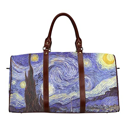 9fa5698cac9 Unisex Luggage Tote Bag Unique Design Starry Night Waterproof fabric  Two-sided Printing Canvas Travel