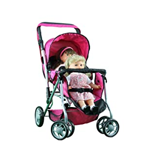 Mommy & Me TWIN Doll Pram Back to Back Foldable Doll Stroller with Swiveling Wheels, Basket, Adjustable Handle, & Free Carriage Bag - 9668