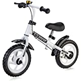 Child's 12 Balance Bike Rear Brake by LONOVE No-pedal Push Walk Run Stride Design– First Bike for Babies Toddlers Children Ages: 18 Months to 6 Years – Specialized Sport Balance Bicycle- White
