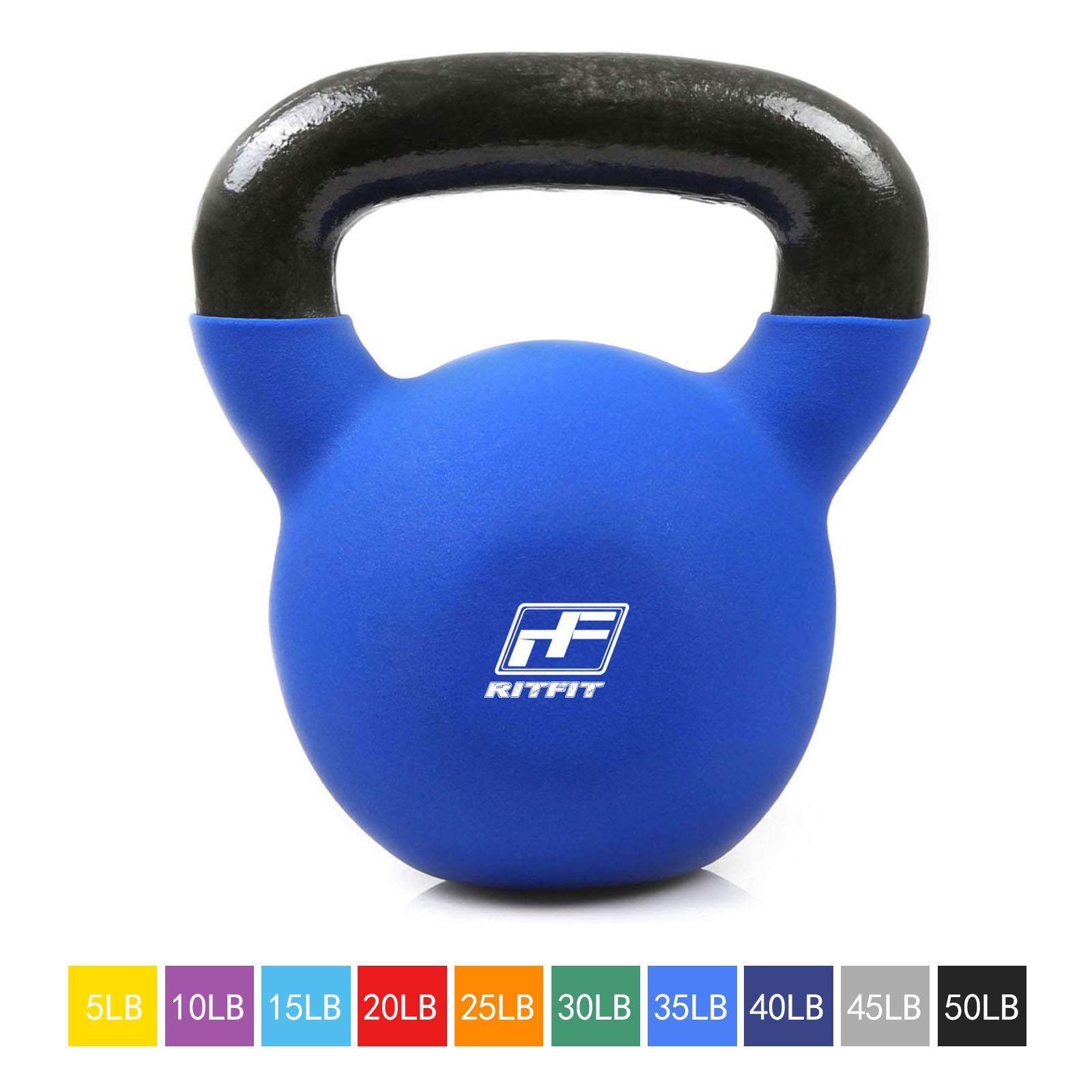 RitFit Neoprene Coated Solid Cast Iron Kettlebell - Great for Full Body Workout, Cross-Training, Weight Loss & Strength Training (5/10/15/20/25/30/35/40/45/50 LB) (35LB(Blue))