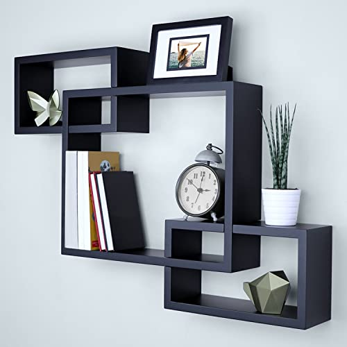 Ballucci Wooden Interweave Floating Wall Mounted Shelves, Horizontal and Vertical Display Storage Shelf for Living Room Bedroom Entryway Hallway Bathroom, 26 x 18 , Black