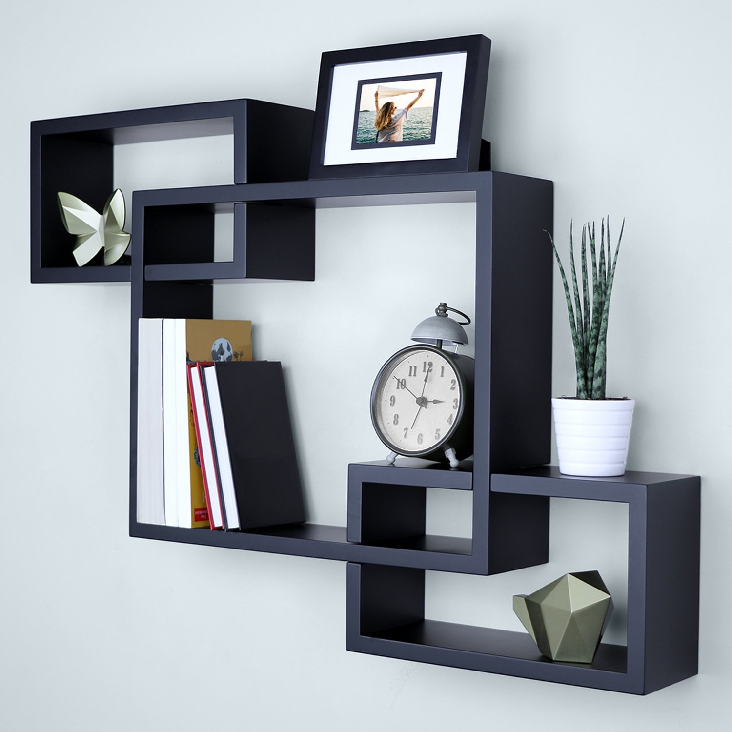 Ballucci Interweave Wall Shelves, 26'' x 18'', Black by Ballucci