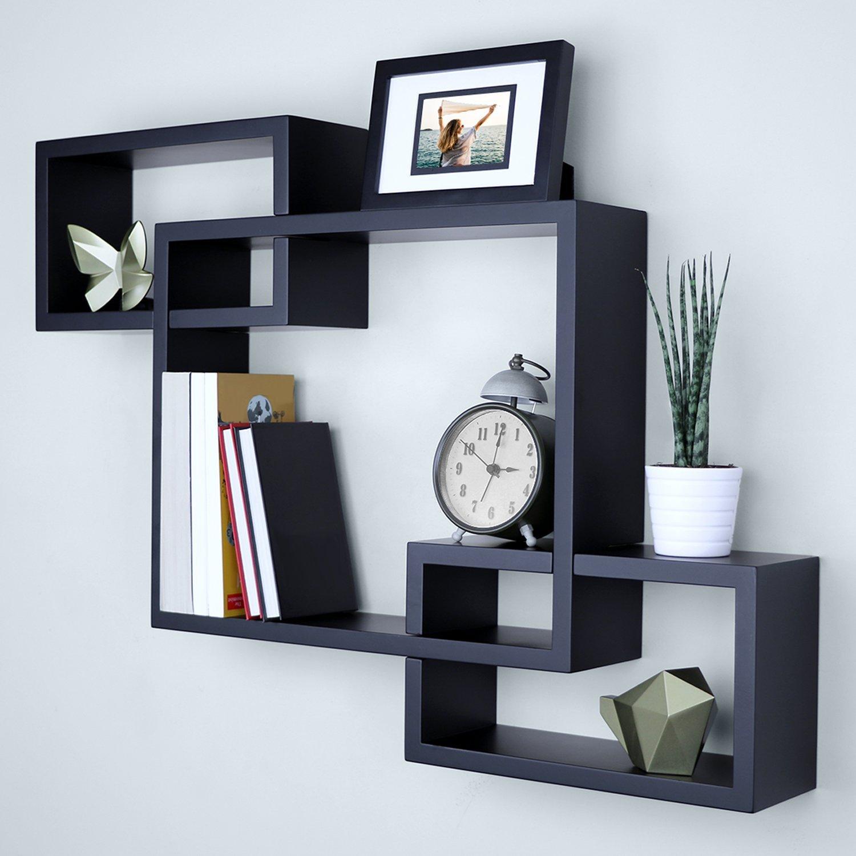 Ballucci Interweave Wall Shelves, 26'' x 18'', Black