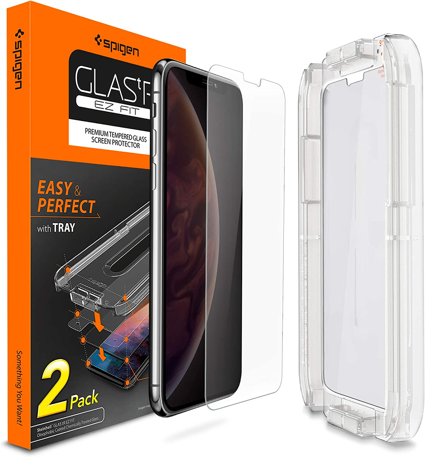 Spigen Tempered Glass Screen Protector [Installation Kit] Designed for iPhone Xs/iPhone X [2 Pack] - Sensor Protection