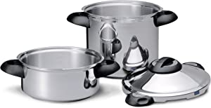 Kuhn Rikon Duromatic Top Stainless Steel Pressure Cooker with Side Grips, Set of 2, 4 Litre and 8 Litre / 24 cm