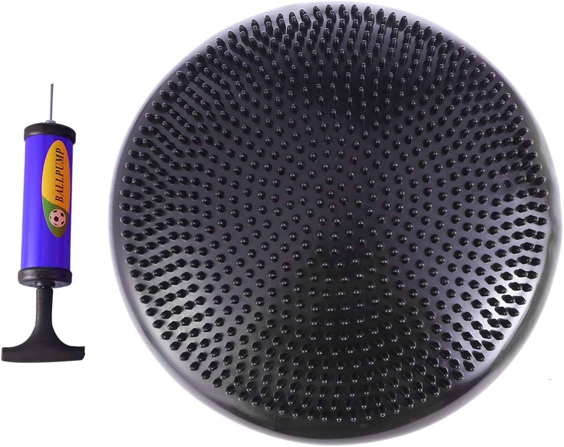 BESPORTBLE Inflated Stability Wobble Cushion with Pump Balance Disc Lumbar Support for Home Office Desk Chair Kids Alternative Classroom Sensory Wiggle Seat (Black)