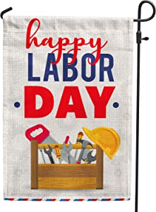 Hollyhorse Happy Labor Day Garden & Yard Flag - 12.5 x18 Inch Double Sided Vertical Outdoor Flag | Labor Day Decoration