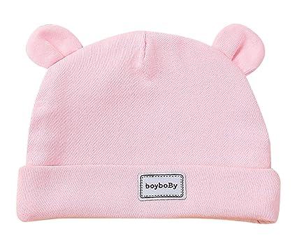 Feoya Gorro Gorra para Bebés Sombrero de Punto Recien Nacido Hat Primavera con Orejas Lindo Algodón Color Sólido Rosa 0-3 Meses