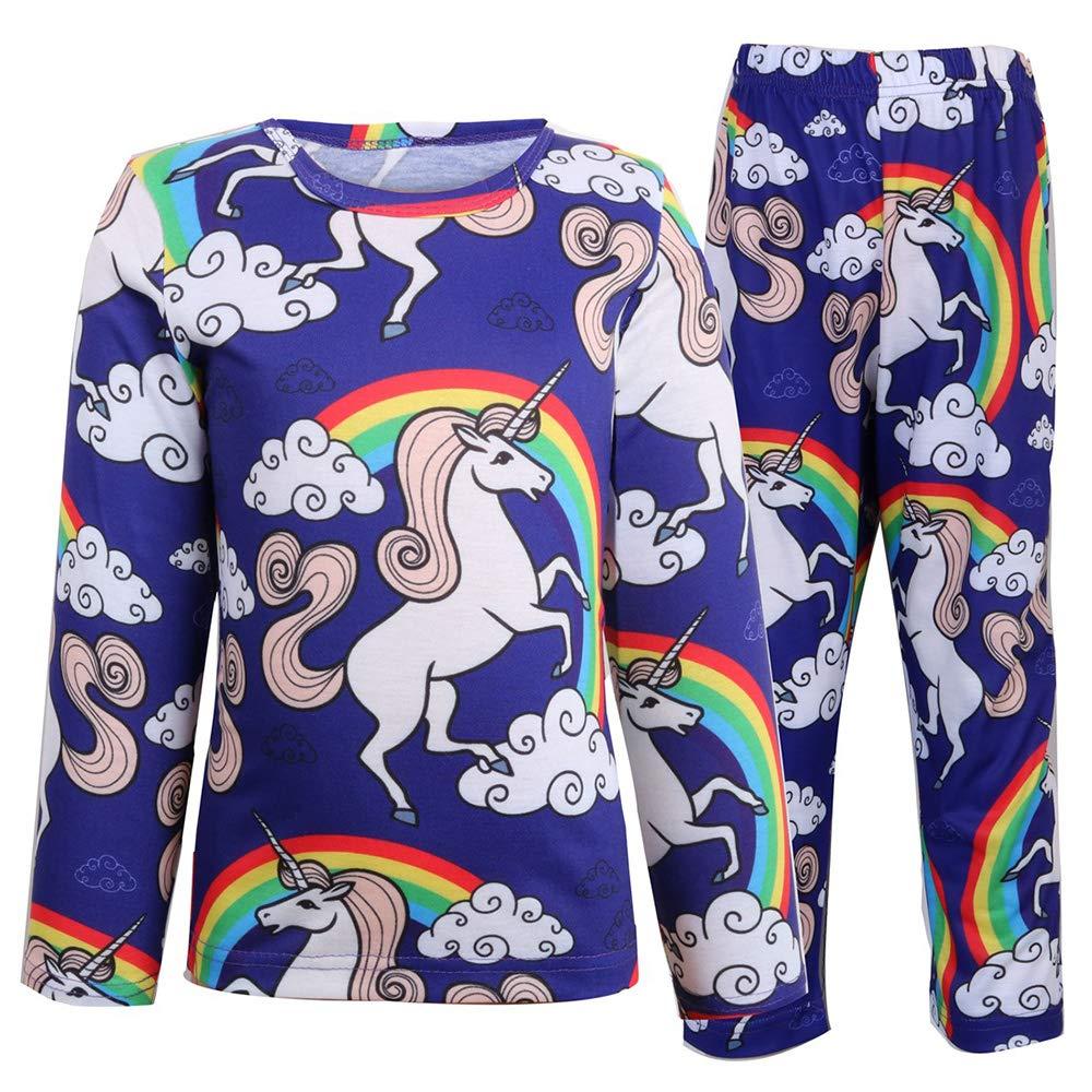 Unicorn Girls Pajamas Sets PJS 2 Pieces Pants Sets Kids Sleepwear Age 3-8 Years
