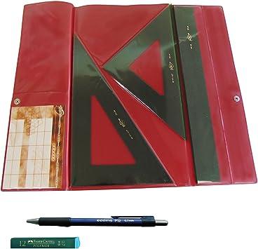 Faibo Pack Lote Estuche técnico Verde Juego Compuesto por Regla 30 cm GRADUADA, escuadra y cartabón
