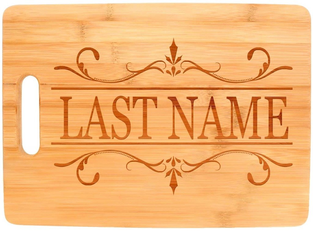 Custom Wedding Gift Couples Enter Last Name Personalized Big Rectangle Bamboo Cutting Board Bamboo