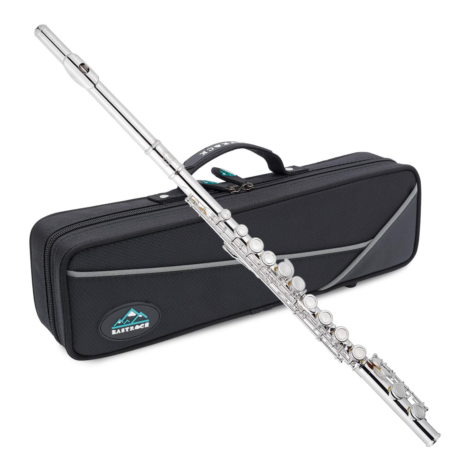 EastRock Closed Hole Flutes C 16 Key for Beginner, Kids, Student Nickel Flute with Case Stand and Cleaning kit by EastRock