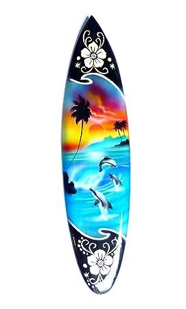 Miniatura dekosurfb oard Surf madera onda Jinete Altura 30 cm, incluye soporte de madera decoración