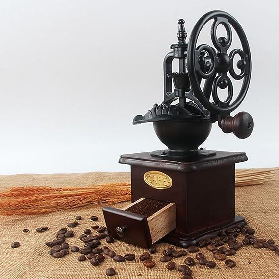 Molinillo de café manual Hierro fundido antiguo Manivela Molinillo de café con ajustes de molienda y cajón de captura: Amazon.es: Hogar