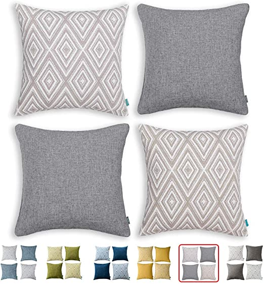 """HPUK Set of 10 Decorative Throw Pillow Covers Geometric Design Cushion  Pillowcases for Couch Sofa Bed Car, 10""""x10"""", Grey"""