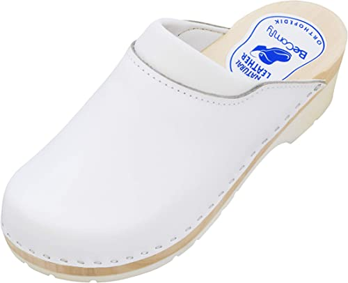 BeComfy Womens Clogs Wood Footwear Shoes Leather Wooden White Black /& Colorful Flowers 3-7.5 UK