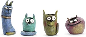 Georgetown Home and Garden Bloomies Kitty Kit Mini Planter Set, by Blobhouse, Decorative Planter w/Drain Hole (4 Pieces)