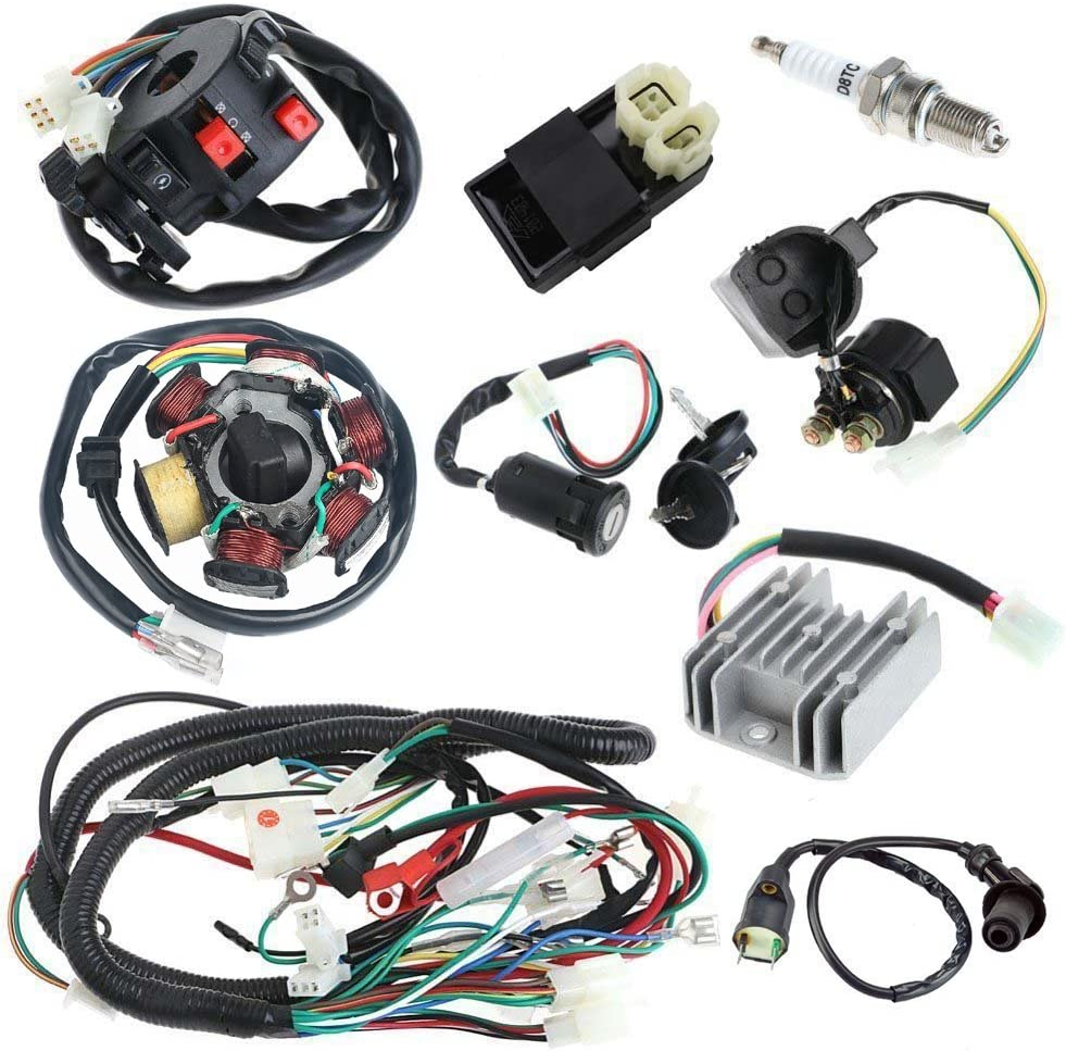 Ignition Coil,Electric Wiring Harness Kit Relay Rectifier Magneto Stator for GY6 125cc 150cc