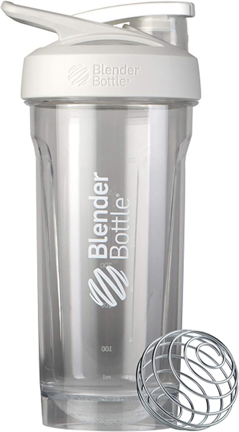 BlenderBottle Strada Tritan Shaker Bottle with Locking Lid, 28-Ounce, White