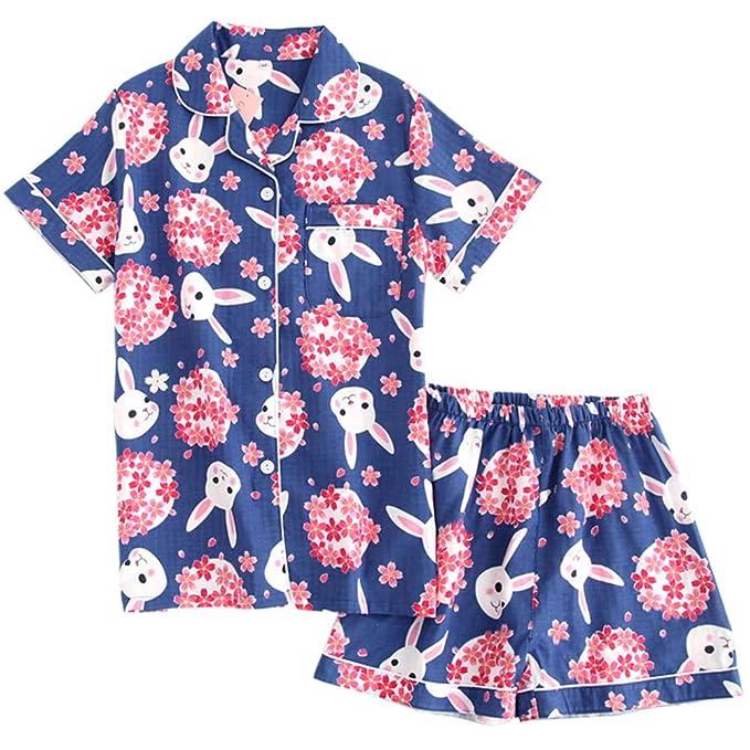 Mmllse Pijamas Azules Lindo Conejo De Dibujos Animados De Impresión Servicio A Domicilio Tops Pantalones Dos Conjuntos De Mujeres De Manga Corta: Amazon.es: ...