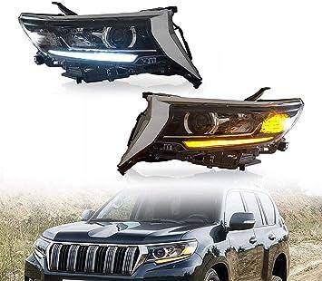 Pair Front Bumper Fog Light Side Cover Hoods Fit For Toyota Land Cruiser Prado