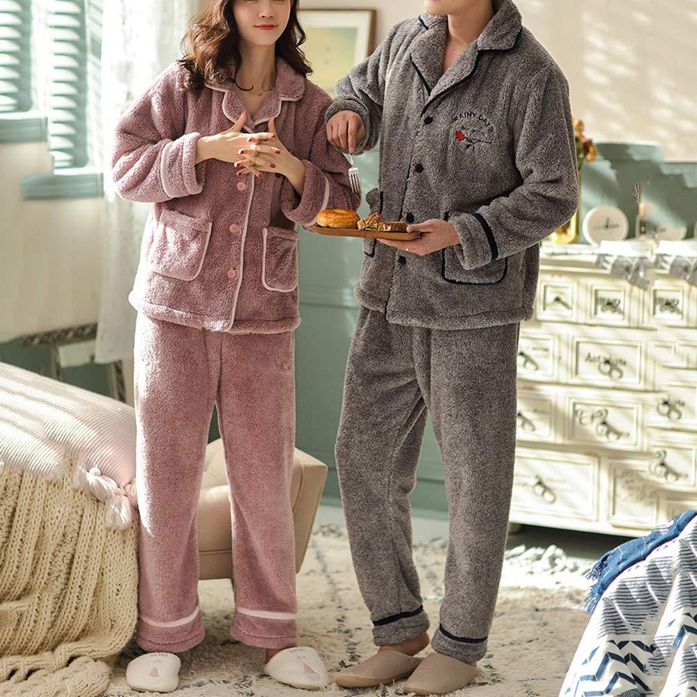 ZZHF shuiyi Pijamas, Amantes Espesar Cómodos Pijamas Hombre Otoño Invierno Invierno Otoño Mantener abrigado la Ropa para el hogar Conjunto Simple de la Solapa Suelta Empalme Ropa Casual camisón 498293