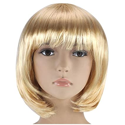 MUJERES CORTAS PELUCA BOB FANCY DRESS COSPLAY WIGS POP PARTY COSTUME (Rubia)