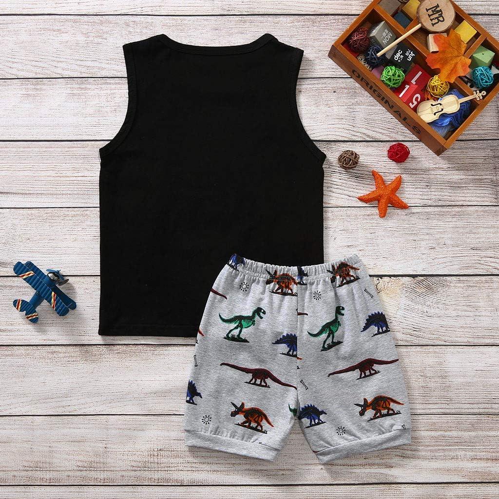 2-7Years Toddler Boy Cartoon Dinosaur Sleeveless Vest Tops+Shorts Pajamas Outfits Set,SIN vimklo